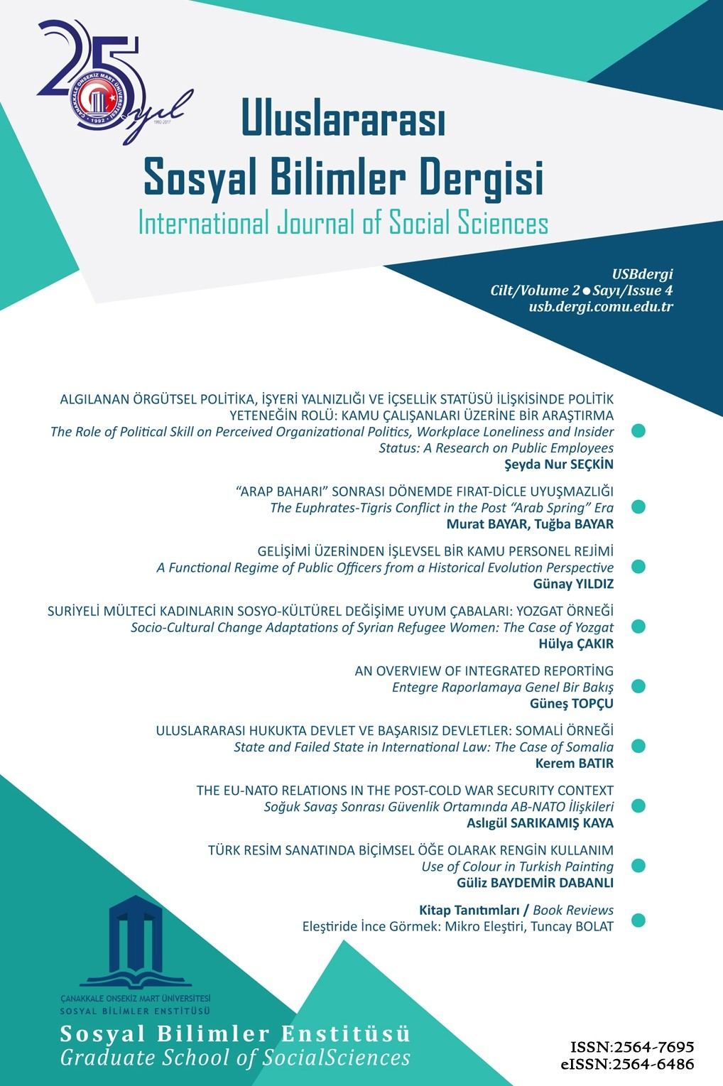 Çanakkale Onsekiz Mart University International Journal of Social Sciences