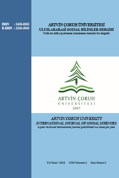 ARTVIN CORUH UNIVERSITY INTERNATIONAL JOURNAL OF SOCIALSCIENCES