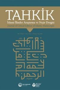 Tahkik Journal of Critical Editions of Islamic Manuscripts